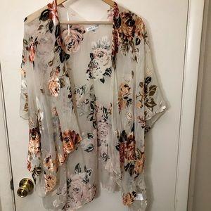 WOVEN HEART floral velvet mesh kimono